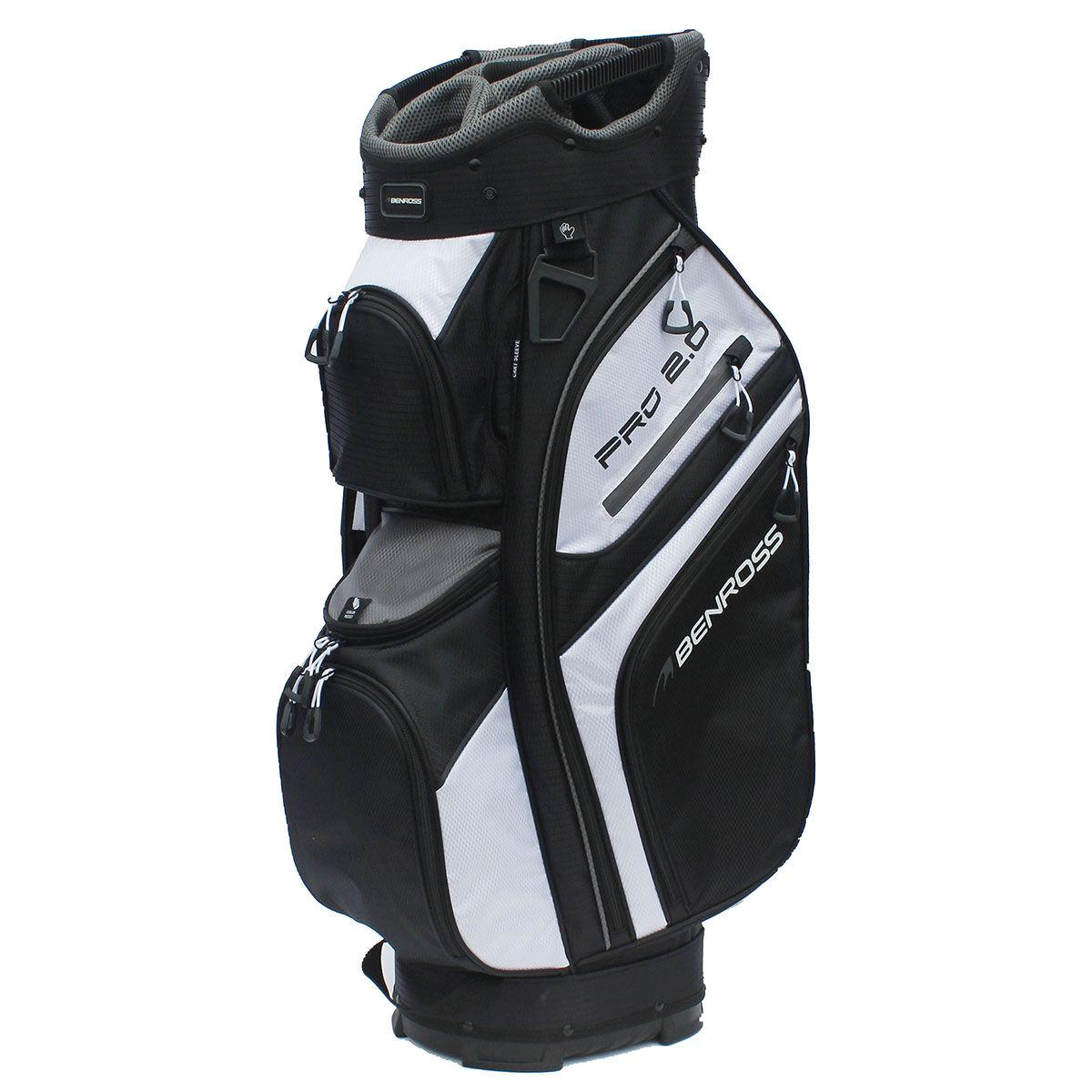 Sac chariot Benross PROTEC 2.0 Deluxe, homme, Noir/Blanc/Gris    Online Golf