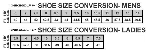 Tableau des correspondances des tailles françaises et européennes Nike Golf